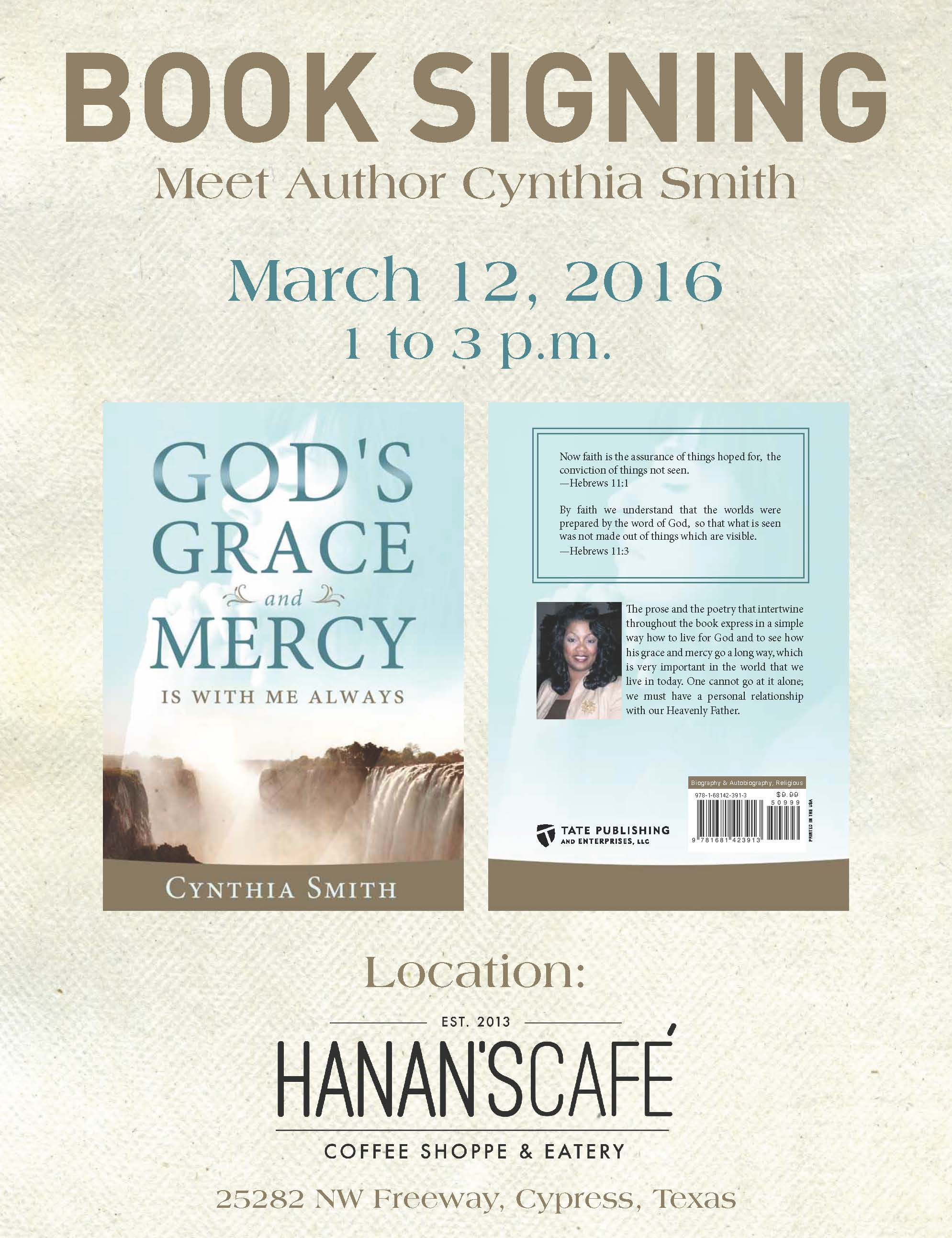 Book Signing March 12, 2016 – Meet Cynthia Smith!